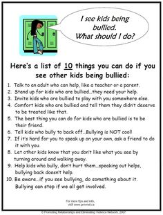 10 Things You Can Do If You See Other Kids Being Bullied. #bullying