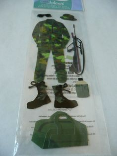 MILITARY MAN - Dedication page, Army scrapbooking layout ideas - Jolees Boutique 3d stickers by ExpressionsofFaith, $2.69