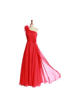 A-line chiffon gown with one shoulder. So lovely.