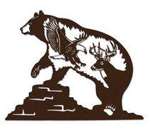Loon Lake Bear Eagle Deer Brown Metal Wall Art