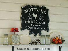 Moulins de Provence Vintage style French sign by castleandcottage