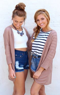 Best friend photoshoot - denim high waisted shorts - mocha cardigan - back to school outfit - fall fashion
