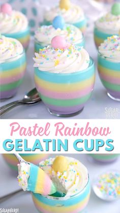 Pastel Rainbow Gelatin Cups Video Pastel Rainbow Gelatin Cups are a beautiful dessert for springtime or Easter! Layers of pastel gelatin are topped with whipped cream and your choice of sprinkles for a fun and easy treat. Beaux Desserts, Jello Desserts, Jello Recipes, Cute Desserts, Easter Recipes, Holiday Recipes, Cake Recipes, Gelatin Recipes, Jello Cake