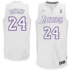 NBA Los Angeles Lakers Winter Court Big Color Swingman Jersey, #24 Kobe Bryant, White, Medium