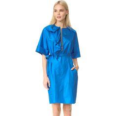 Nina Ricci Button Front Dress (92,670 INR) ❤ liked on Polyvore featuring dresses, blue asymmetrical dress, blue dress, frill sleeve dress, pocket dress and flutter sleeve dress