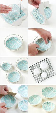20 Creative DIY Ideas to Make a Unique Bowl --> DIY Stamped Clay Bowls #DIY #craft #bowl