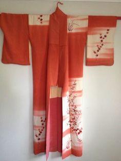 Japanese Kimono Silk VINTAGE HOUMONGI Salmon FloralOmbre dye GEISHA uRazen 12