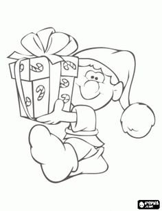 Christmas elf carrying a box of a present coloring page
