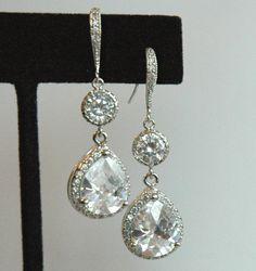 Cubic Zirconia Drop and Round Sterling Silver Dangle Earrings, wedding Bride Earrings, Bridesmaids Earrings