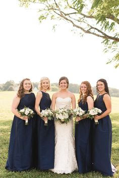 Modest Navy Floor Length A Line Bridesmaid Dresses With High Neckline Photo