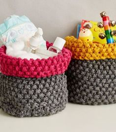 FREE SUNDAY ONLY - Knitting Pattern for Nursery Baskets from Deramore's. Quick knit in chunky yarn. Great for baby shower gifts. Two sizes.