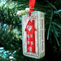 Little Red House Ornament - Altered Domino - Stocking Stuffer - Gift Decoration by Vickie @ In My Head Studios, via Flickr