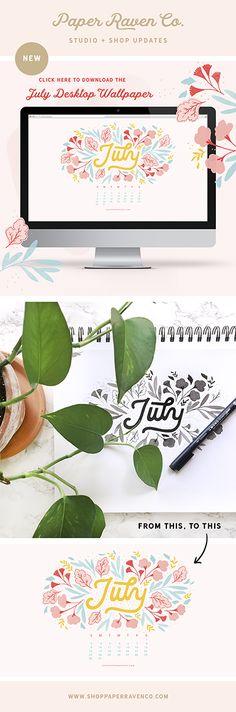 July Illustrated Desktop Wallpaper by Paper Raven Co.
