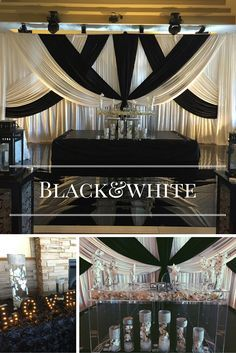 Exquisite black and white themed wedding decor with matching floral centerpieces and love signage. Riverside Signature Banquet Hall in Surrey, wedding venue Vancouver.