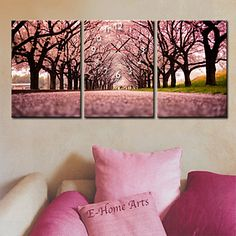 Modern Style Cherry Blossom Clock in Canvas 3pcs - USD $ 59.99