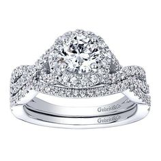 DIAMOND ENGAGEMENT RINGS - 14K White Gold .30cttw Criss-Cross Round Halo Diamond Mounting