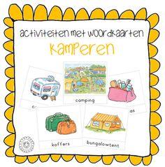 Activiteiten met woordkaarten | Thema KAMPEREN / VAKANTIE (Dagmar Stam) Preschool Learning, In Kindergarten, Teaching, Camping Glamping, Camping Theme, Back 2 School, Kids Education, Most Beautiful Pictures, More Fun