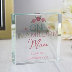 One In A Million Personalised Mother's Day Crystal Token. http://harringtons-gift-store.co.uk/collections/mothers-day-gifts/products/one-in-a-million-personalised-mothers-day-crystal-token