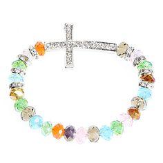 Tempestato di diamanti Croce di cristallo variopinto del braccialetto – USD $ 4.99