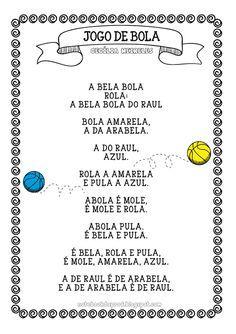 Notebook da Profª: Atividades com Texto Jogo de Bola - Cecília Meireles