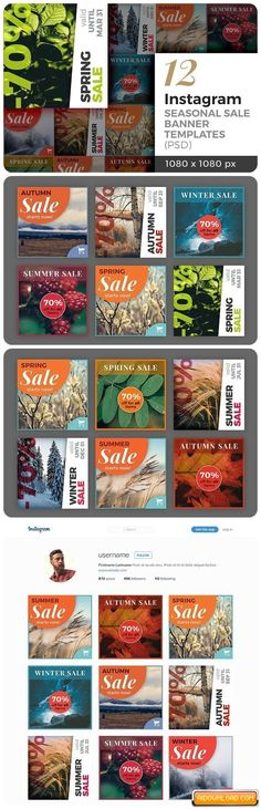12 Instagram Seasonal Sale Banner Free Download | Free Graphic Templates, Fonts, Logos & Icons, PSD, AI