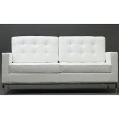 Modern Florence Style Loveseat Genuine White Leather $605.00