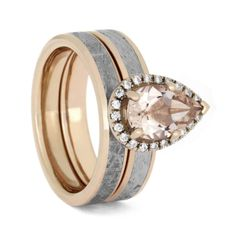 Pear Shaped Morganite Bridal Set, Meteorite And Rose Gold-2756  A sumptuous pear shaped morganite is the focal point on this enticing Gibeon Meteorite bridal set. The beautiful morganite gemstone shows off