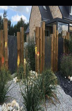 Garden Privacy, Garden Fencing, Back Gardens, Outdoor Gardens, Fence Design, Garden Design, Brick Patterns Patio, Backyard Landscaping, Backyard Designs