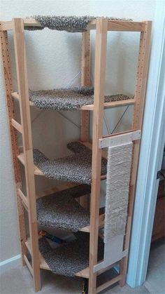 Corner cat tree out of IVAR shelving - is it possible? - IKEA Hackers - Corner cat tree out of IVAR shelving – is it possible? – IKEA Hackers Hackers Help: Corner cat tree out of IVAR shelving – is it possible? Diy Cat Toys, Cat Climber, Cat Tree House, Cat House Diy, House For Cats, Cat Towers, Cat Playground, Cat Room, Cat Condo