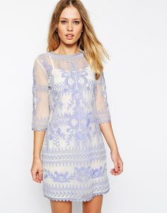 ASOS Premium Shift Dress with Embroidery