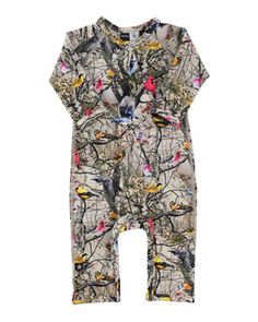 Fiona Bright Birds Coverall, Tan/Multicolor, Size 3-9 Months by molo at Neiman Marcus.