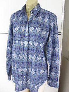 Liberty Ianthe design cotton shirt in blues & mauve UK16 by James Meade LTD