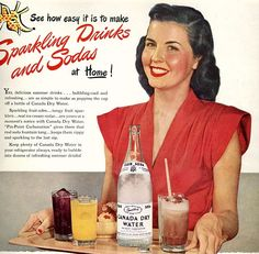 vintage 1947 advertisement canada dry soda pinup. $12.95, via Etsy.