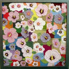 Framed quilt with flowers, Tokyo International Quilt Festival 2011