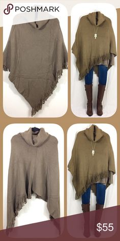 Thick Taupe Turtleneck Fringe Poncho 🍂🍁BOUTIQUE🍁🍂 ✅Not thin. So warm and cozy!  ✅One size fits all ✅I stock other items (like tunics, scarves, and leggings) that complement each other --- go take a look!  ✅Price firm, BUT... ✅Want 15% off AND a free gift? Bundle 3+ items!  ✅Check out my other warm ponchos! 🍁🍂💥Happy Poshing!💥🍂🍁 Sweaters Shrugs & Ponchos