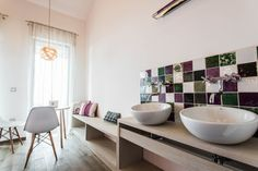 Natura Hill Zebegény, Hungary Pension interior, country-modern style, Mallow room - white and mauve, wooden furnishing, Pataki Tiles