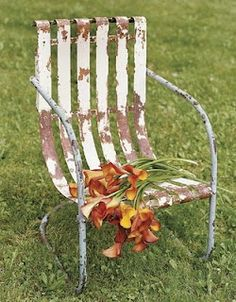Vintage Garden Chair Makeover. I'm so lucky! I have two of these chairs and 1 bench. Unfortunately the bench is green and 1 chair is blue and 1 is yellow. They aren't this bad - but they do need a makeover.