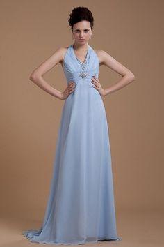 Misses Sleeveless Fall Zipper Up Floor Length Hourglass Empire Waist Halter Light Sky Blue Evening Dress