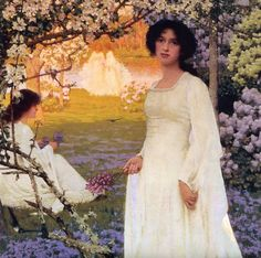Arthur Herbert Buckland (1870-1927)  Spring, 1896, private collection.  Arthur Buckland was a painter of romantic landscape subjects, genre and portraits, illustrator. Born at Taunton, he studied art at the Academie Julian in Paris.