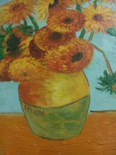 20x24 Sunflowers Oil Painting Reproduction by Tom L. Originally painted by Vincent van Gogh and available for purchase at Dylan's Unique Gifts & Weddings
