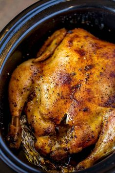 Quick and easy rotisserie chicken made entirely in the slow cooker.