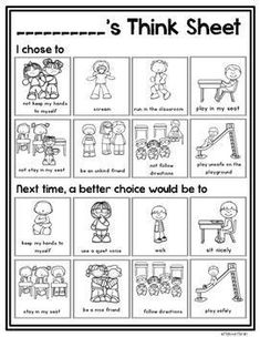 This visual think sheet is a simple way for students to reflect on their behavior and think of better choices for the future. The behavior visuals are perfect for kindergarten, grade or special education classrooms. Kindergarten Classroom Management, Classroom Rules, In Kindergarten, Classroom Decor, Preschool Behavior Management, Kindergarten Behavior Charts, Classroom Consequences, Classroom Behavior Chart, Positive Behavior Management