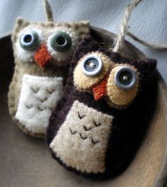 felted owl projects | felt owl ornaments