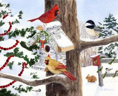 Winter Birdhouse and Cardinals by Maureen McCarthy ~ Christmas