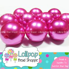 MAGENTA Faux PEARLS 20mm Chunky Beads Pearl Beads 10ct Round Acrylic Imitation Pearl Hot Pink Bubblegum Beads Bubble Gum Beads Gumball Beads by LollipopBeadShoppe, $4.00