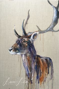 This is Arturo. He's a stag painted in Oil paint on linen canvas but artist Louise Luton. He's a magnificent way to finish off a beautiful room. Painting & Drawing, Watercolor Paintings, Gouche Painting, Deer Illustration, Animal Projects, Acrylic Art, Beautiful Paintings, Photo Art, Cool Art