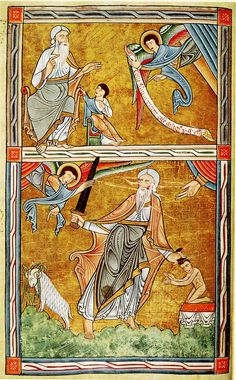 A page from the 12th-century York Psalter (produced c.1170 in the north of England in a stylized but vigorous English Romanesque style). This page illustrates God's command to Abraham that he sacrifice his only son Isaac