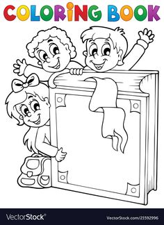 Coloring book kids theme 3 vector image on VectorStock Unicorn Coloring Pages, Colouring Pages, Coloring Books, Coloring Worksheets, Cover Pages, Art Pages, Kids English, Drawing For Kids, Easy Drawings