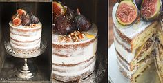 "The ""undressed"" or naked cake Yogurt and Fig (Undressed) Cake. These cakes would be perfect as part of a dessert table."