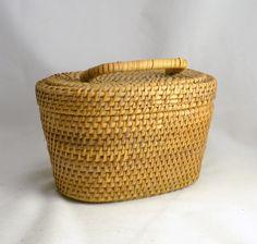 Rattan Grass Woven Basket w/ Lid  Vintage Country Storage